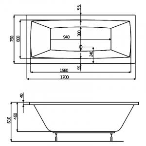 Ванна Vita 170x75 с ножками  и панелью