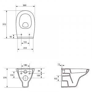 Інсталяційний модуль Hi-Tec з кнопкою, чашею унітаза Arteco і сидінням