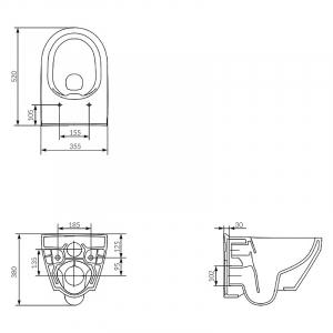 Інсталяційний модуль Hi-Tec з кнопкою, чашею унітаза Crea Clean On і сидінням