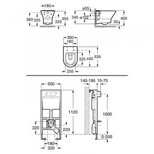 Інсталяційний модуль і чаша унітаза Nexo Clean Rim
