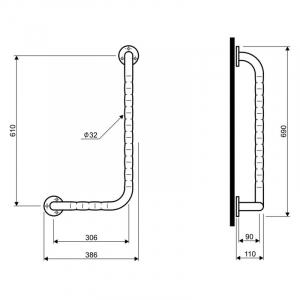 Поручень Lehnen Funktion правый, волнистая поверхность