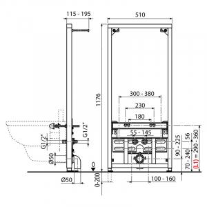 Инсталляционный модуль для биде 120