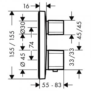 Верхняя часть смесителя Ecostat E с термостатом