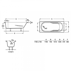 Ванна Genova 170x75 з ніжками