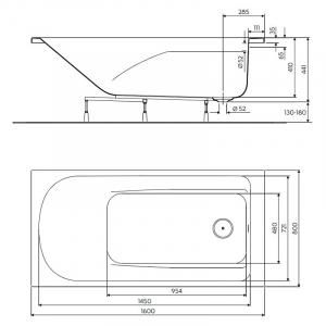 Ванна Comfort Plus 160x80 с ножками