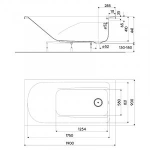 Ванна Comfort Plus 190x90 з ніжками