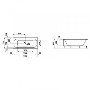 Ванна Solutions 170x75 с рамой