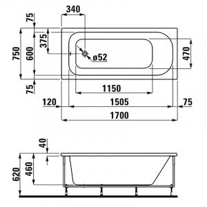 Ванна Solutions 170x75 з рамою