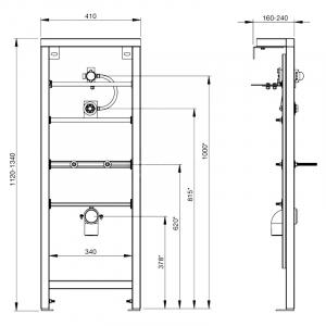 Інсталяційний модуль для пісуара, задній підведення