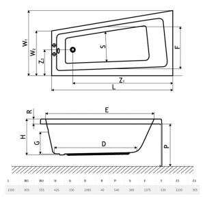 Ванна Evia 150x80 з ніжками права