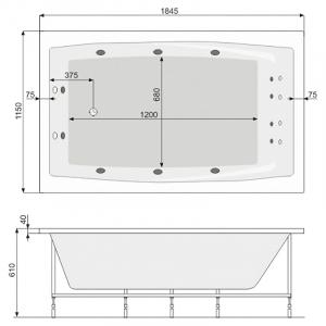 Ванна Fantasy 185x115