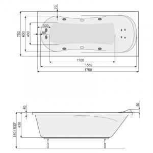 Ванна Muza 170x75 с рамой