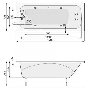 Ванна Klio 170x70 з ніжками