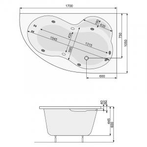 Ванна Mistral 170x105 с ножками, правая