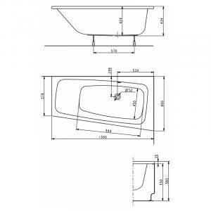 Ванна Split 150x80 правая с ножками