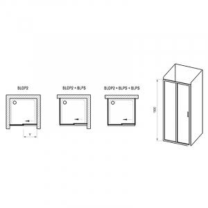 Душевая дверь BLDP2 2-100 Grape+сатин