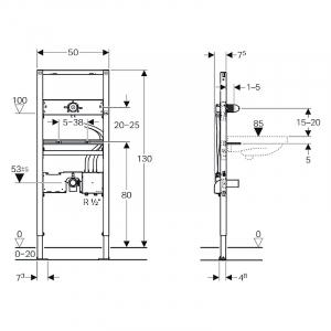 Інсталяційний модуль Duofix для раковини і змішувача прихованого монтажу