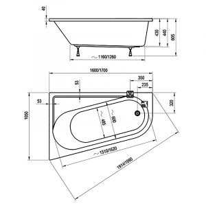 Ванна Chrome 170x105, правая