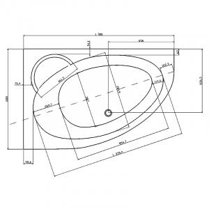 Ванна Asymmetric II 150x100 левая