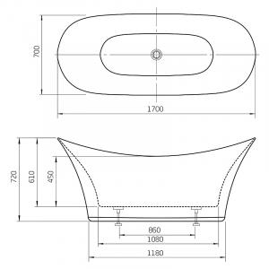 Ванна Harmony 170x70 с ножками и сифоном
