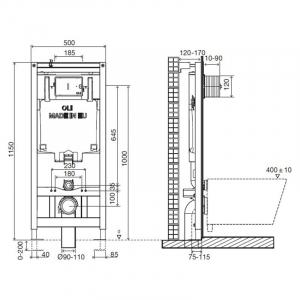 Інсталяційна система Oli 80 + чаша унітаза Free Rim-Off з функцією біде