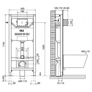 Інсталяційна система Oli 120 Plus + чаша унітазу Free Rim-Off з функцією біде