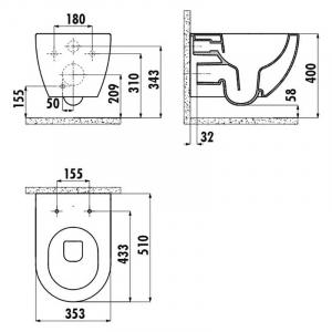 Інсталяційна система Oli 120 Plus + чаша унітаза Free Rim-Off