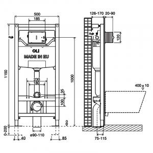 Інсталяція OLI120 Plus 099949 + чаша унітаза Free Rim-Off FE322-34CB00E-0002