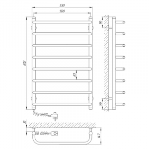 Рушникосушка Стандарт П8 50х80 ліва