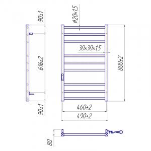 Полотенцесушитель Преміум Класик-I 80x50/8 TR, правий