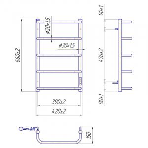 Полотенцесушитель Стандарт HP-I 65x43/15 TR, лівий