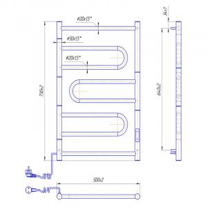 Полотенцесушитель Атлас 70x50/5,5 TR, левый