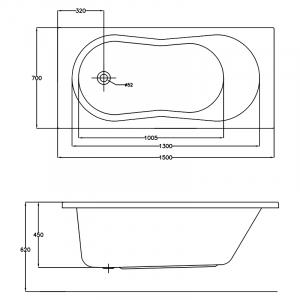 Акрилова ванна Nike 150x70 з ніжками