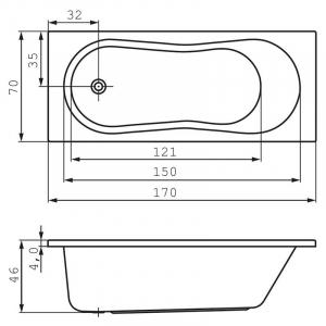 Акриловая ванна Nike 170x70 с ножками