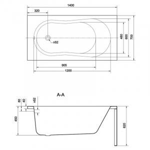 Акриловая ванна Nike 140x70 с ножками