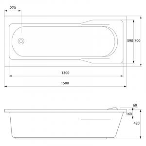 Акриловая ванна Santana 150x70