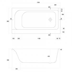 Ванна Smart 170x80 левая с ножками