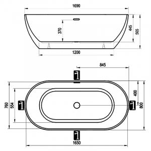 Ванна Freedom Q 169x80 с гидрозатвором