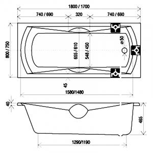 Акрилова ванна Sonata 170х75