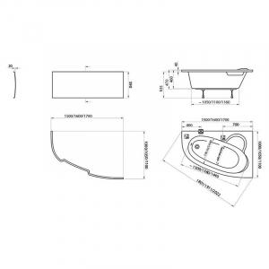 Акриловая ванна Asymmetric 150x100 правая