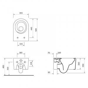 Інсталяційна система Aqua 52 з кнопкою Accento+унітаз Inverto Stream з сидінням Slim Wrap