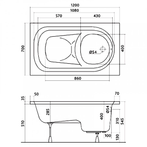 Акриловая ванна Diuna 120 с ножками