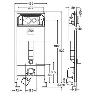 Инсталляционный модуль Prevista Dry с крепежом и кнопкой