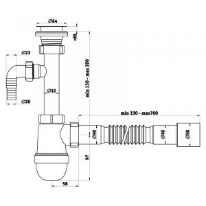 Сифон Ani C1315 для раковины