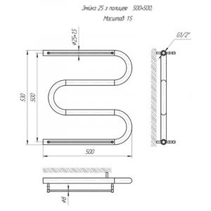 Полотенцесушитель ПМ (Змейка) 25 (50x50) 2 полочки