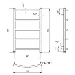 Полотенцесушитель електричний Класик HP-I 65x43