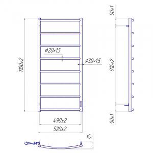 Полотенцесушитель Классик HP-IT 109x53 с таймером, правый