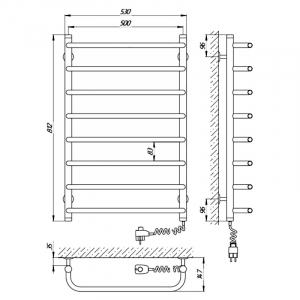 Полотенцесушитель Стандарт П8 80x50, правый