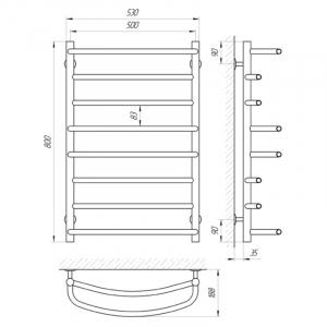 Полотенцесушитель Евромикс П8 50x80 лівий, хром