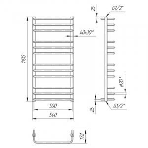 Полотенцесушитель Премиум Стандарт 110x54